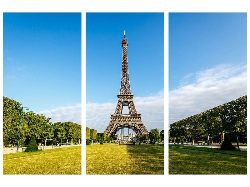 Metallic-Bild 3-teilig Der Eiffelturm in Paris