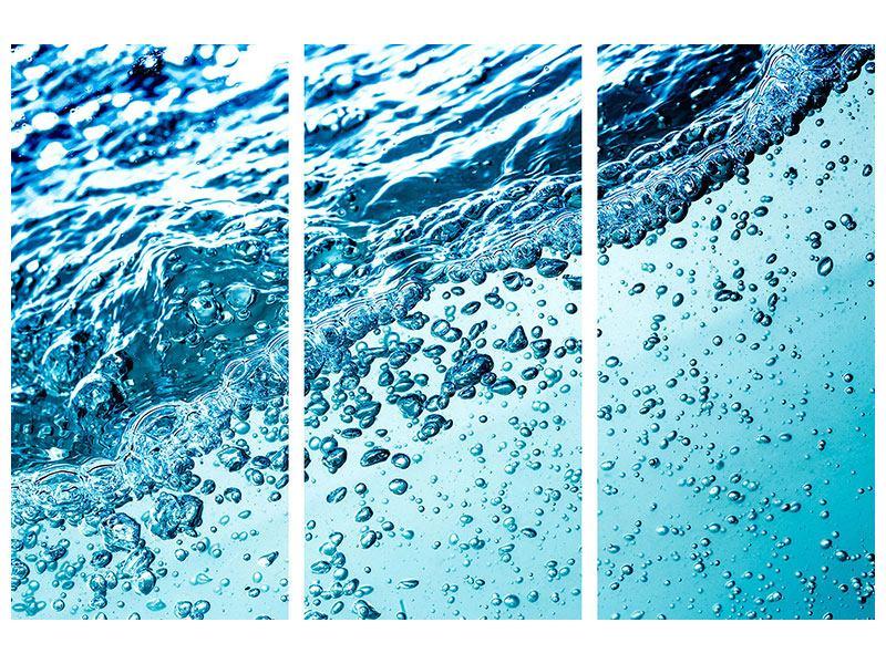 Metallic-Bild 3-teilig Wasser in Bewegung