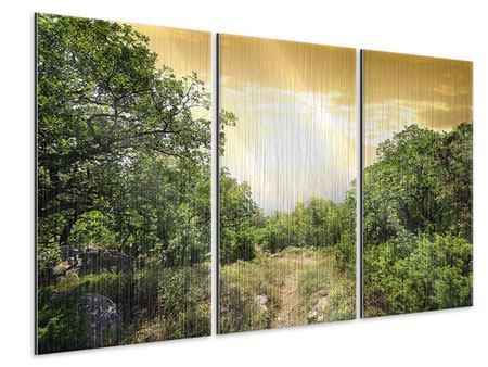 Metallic-Bild 3-teilig Am Ende des Waldes
