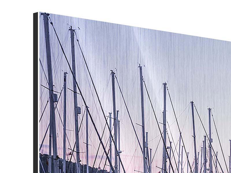 Metallic-Bild 3-teilig Yachthafen