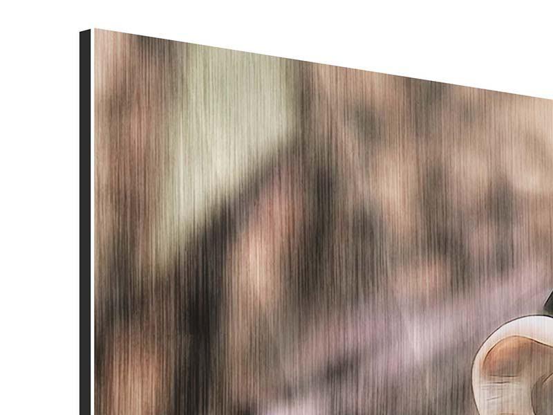 Metallic-Bild 3-teilig Der Schimpanse