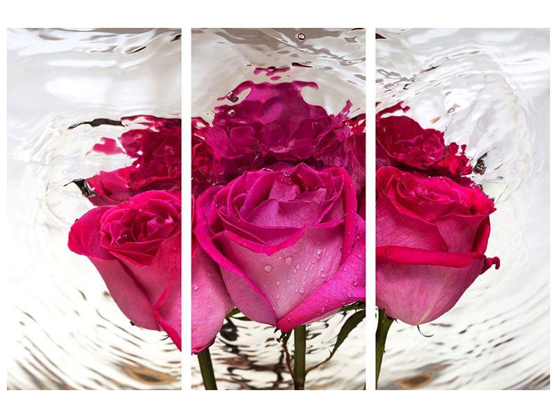 Metallic-Bild 3-teilig Die Rosenspiegelung