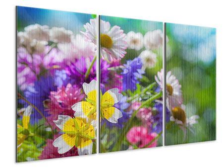 Metallic-Bild 3-teilig XXL Gartenblumen