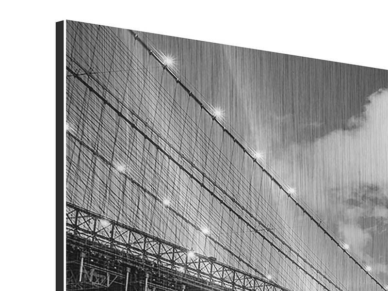 Metallic-Bild 3-teilig Skyline Schwarzweissfotografie Brooklyn Bridge NY