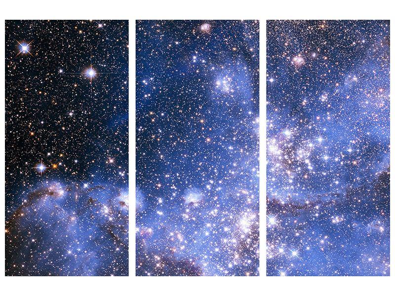 Metallic-Bild 3-teilig Sternenhimmel