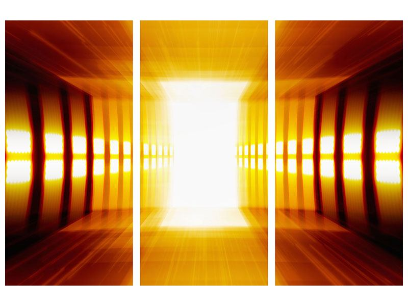 Metallic-Bild 3-teilig Abstrakter Goldener Raum