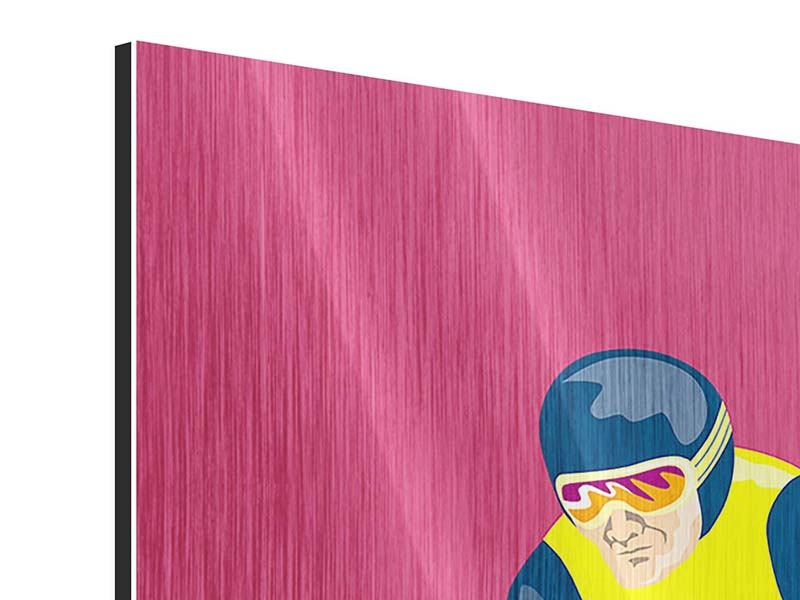 Metallic-Bild 3-teilig Retro-Skifahrer