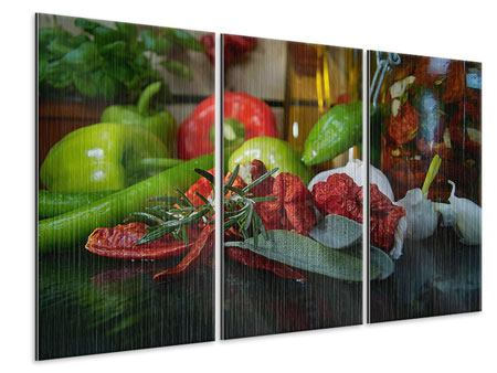Metallic-Bild 3-teilig Mediterranes Gemüse