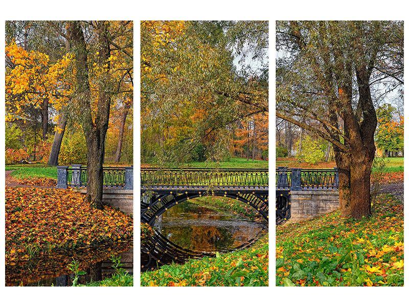 Metallic-Bild 3-teilig Romantischer Park
