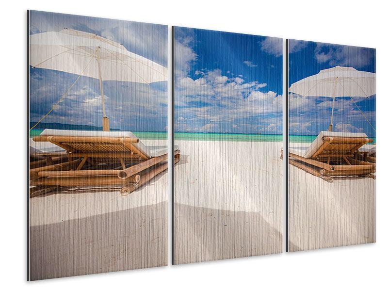 Metallic-Bild 3-teilig Liegen am Strand