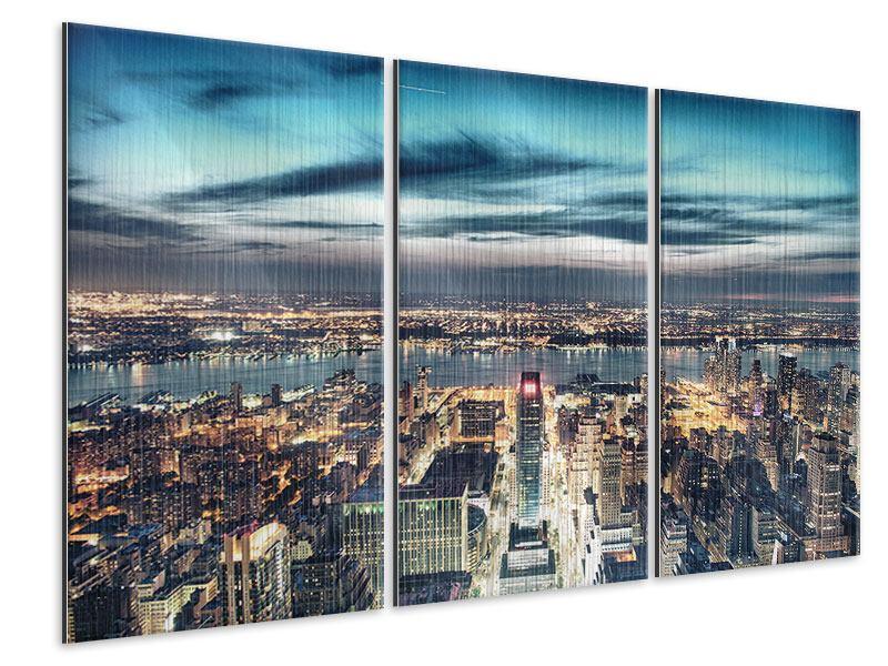Metallic-Bild 3-teilig Skyline Manhattan Citylights