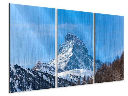 Metallic-Bild 3-teilig Das majestätische Matterhorn