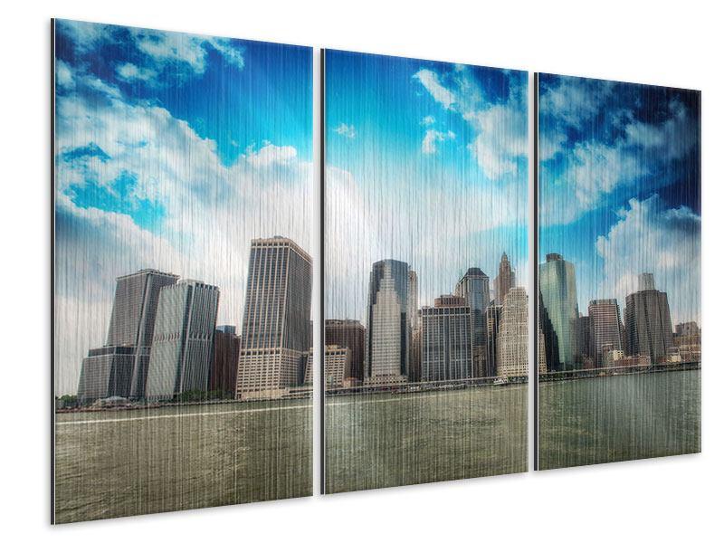 Metallic-Bild 3-teilig Skyline Lower Manhattan
