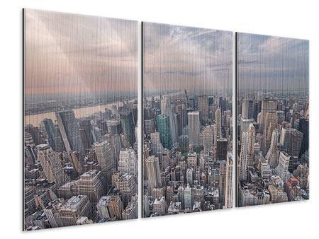 Metallic-Bild 3-teilig Skyline Blick über Manhattan