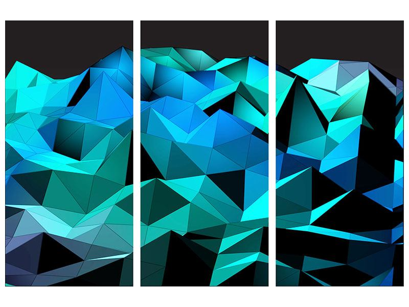 Metallic-Bild 3-teilig 3D-Diamonds
