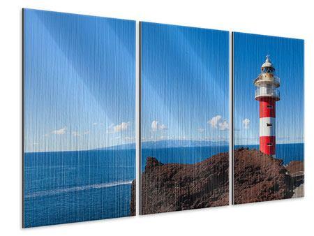Metallic-Bild 3-teilig Leuchtturm in Punta Teno