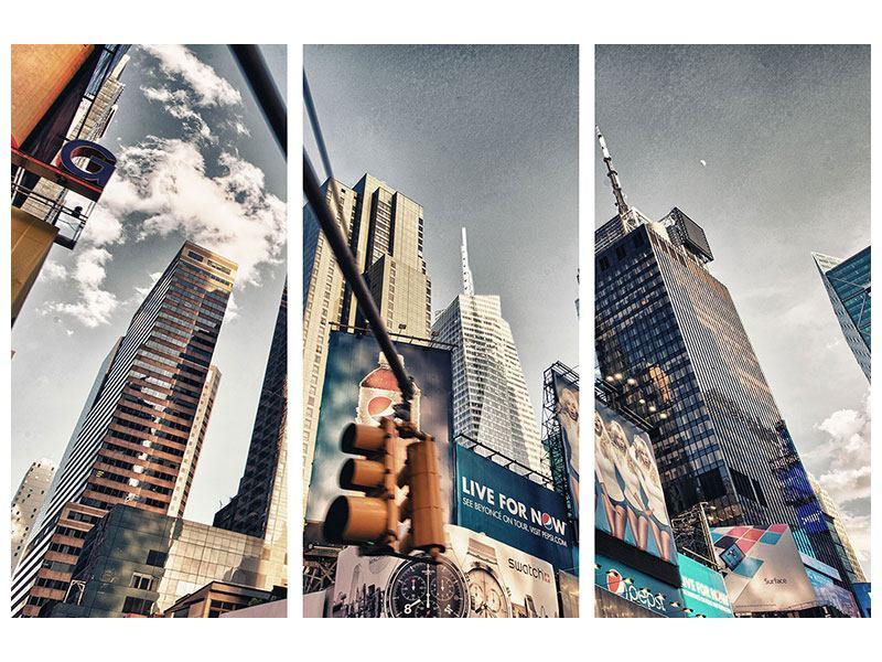 Metallic-Bild 3-teilig Times Square