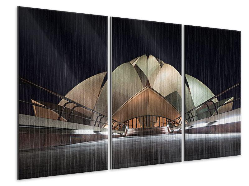 Metallic-Bild 3-teilig Der Lotus-Tempel