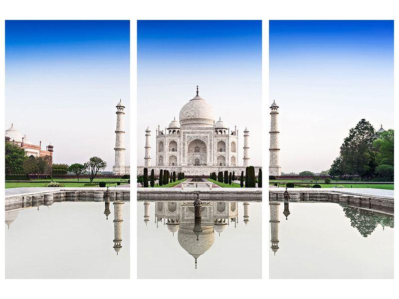 Metallic-Bild 3-teilig Taj Mahal