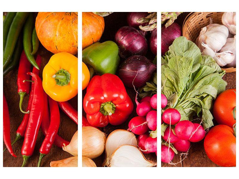 Metallic-Bild 3-teilig Gemüsefrische