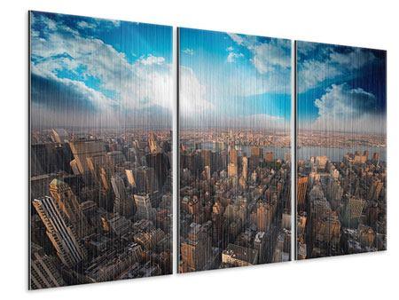 Metallic-Bild 3-teilig Skyline Über den Dächern von Manhattan