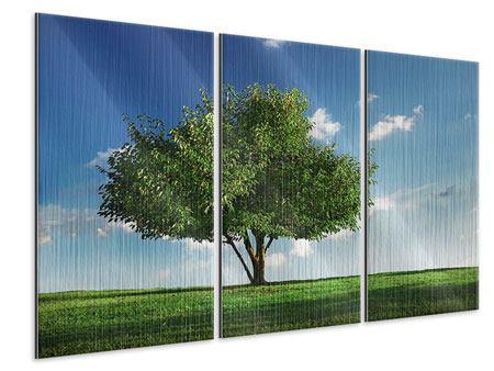Metallic-Bild 3-teilig Baum im Grün