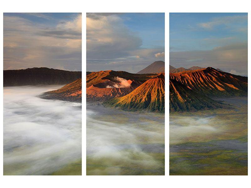 Metallic-Bild 3-teilig Der Bromo Vulkan