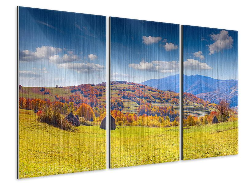 Metallic-Bild 3-teilig Herbstliche Berglandschaft
