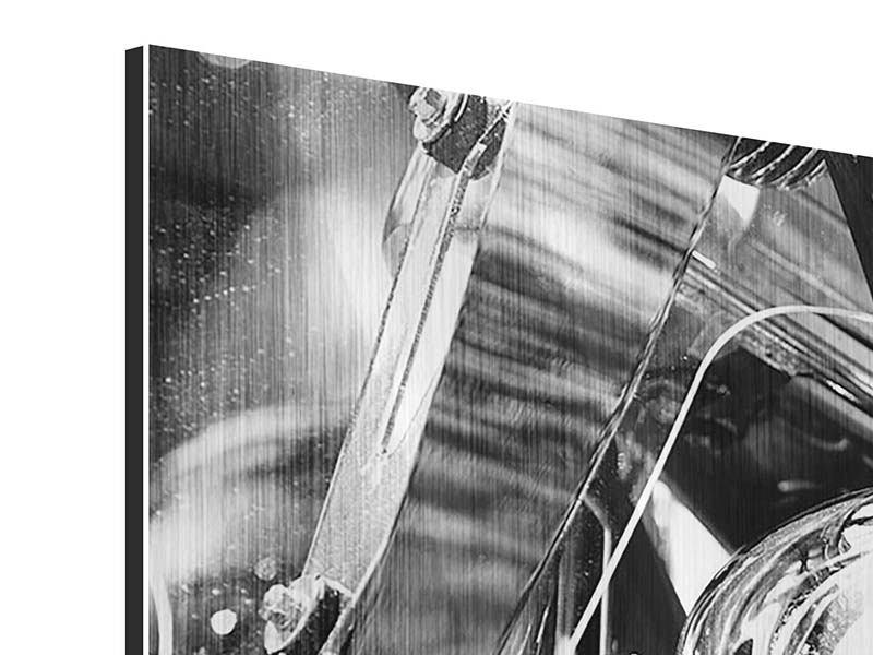Metallic-Bild 3-teilig Motorrad Close Up