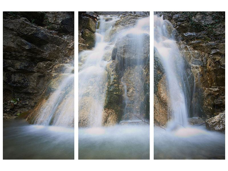 Metallic-Bild 3-teilig Imposanter Wasserfall