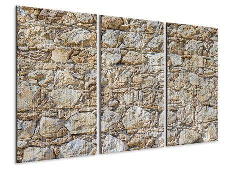 Metallic-Bild 3-teilig Sandsteinmauer