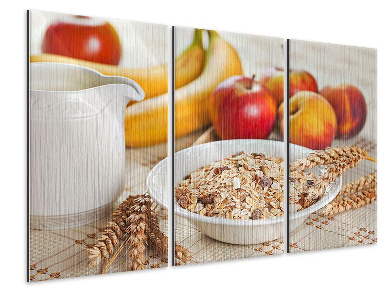 Metallic-Bild 3-teilig Frühstück