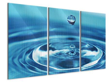 Metallic-Bild 3-teilig Der Wassertropfen