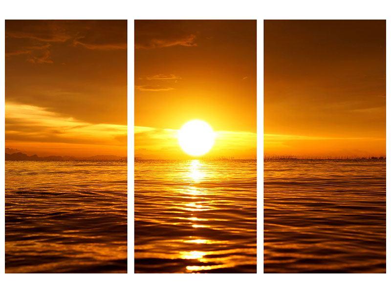 Metallic-Bild 3-teilig Glühender Sonnenuntergang am Wasser