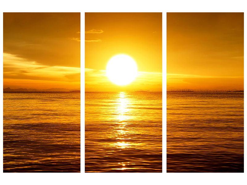 Metallic-Bild 3-teilig Traumhafter Sonnenuntergang