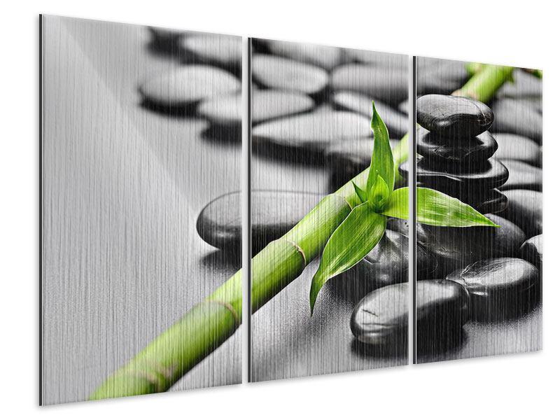 Metallic-Bild 3-teilig Polierte Steine