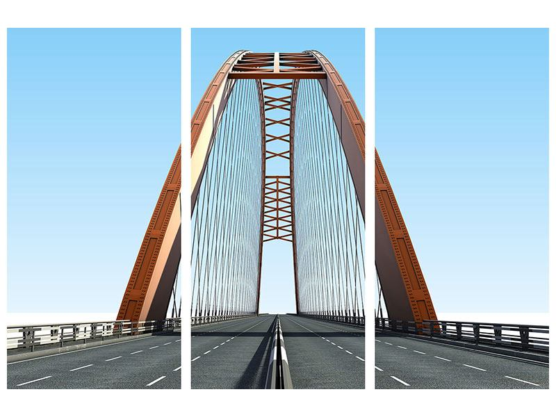 Metallic-Bild 3-teilig Brückenpanorama
