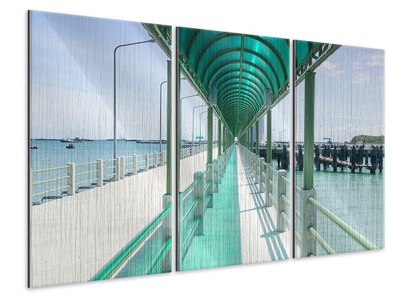 Metallic-Bild 3-teilig Die Brücke am Meer