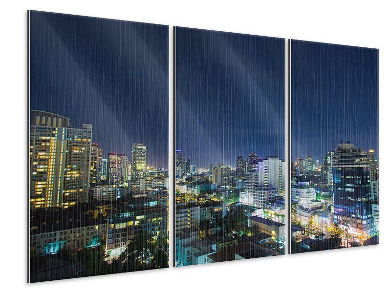 Metallic-Bild 3-teilig Skyline Nachts in Bangkok
