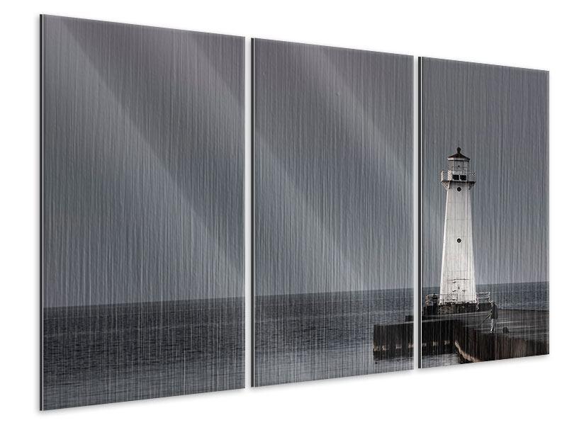Metallic-Bild 3-teilig Der Leuchtturm bei Nacht