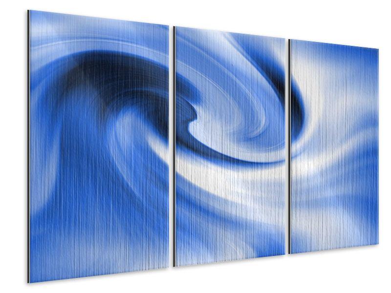 Metallic-Bild 3-teilig Abstrakte blaue Welle