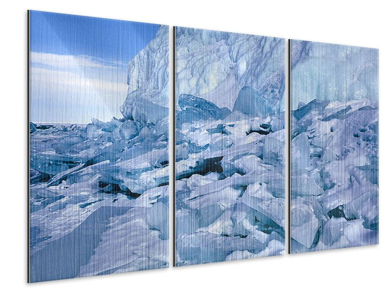 Metallic-Bild 3-teilig Eislandschaft Baikalsee