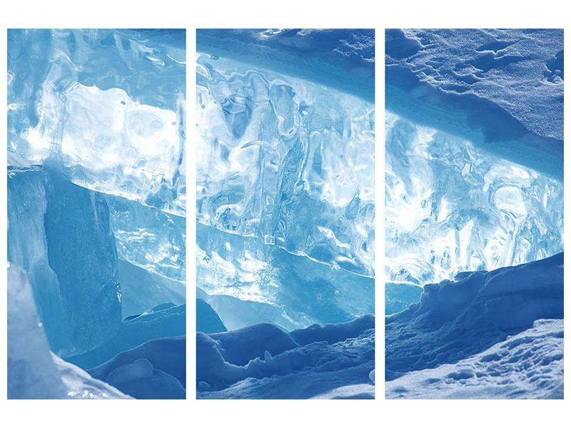 Metallic-Bild 3-teilig Baikalsee-Eis