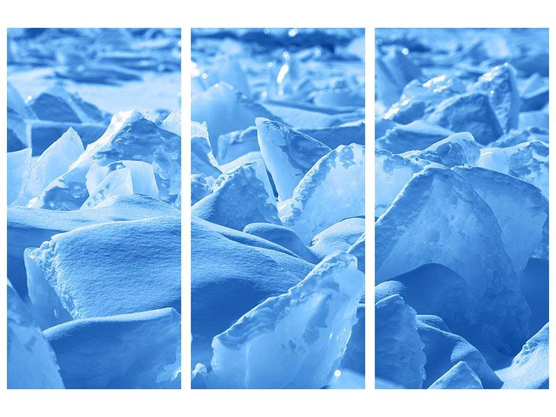 Metallic-Bild 3-teilig Eis des Baikalsees