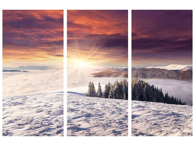 Metallic-Bild 3-teilig Sonnenaufgang Winterlandschaft