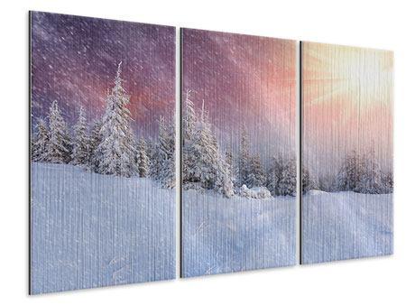Metallic-Bild 3-teilig Mystischer Schneesturm