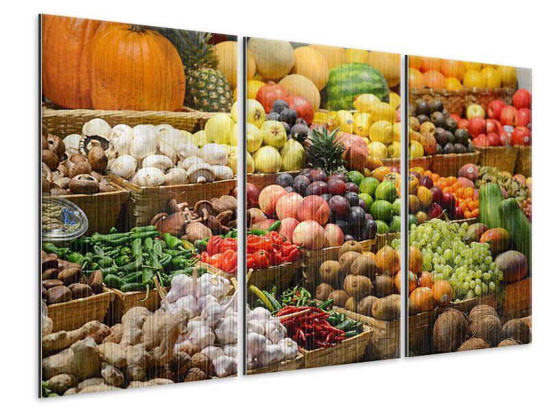 Metallic-Bild 3-teilig Obstmarkt