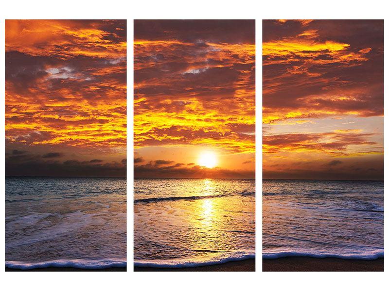 Metallic-Bild 3-teilig Entspannung am Meer
