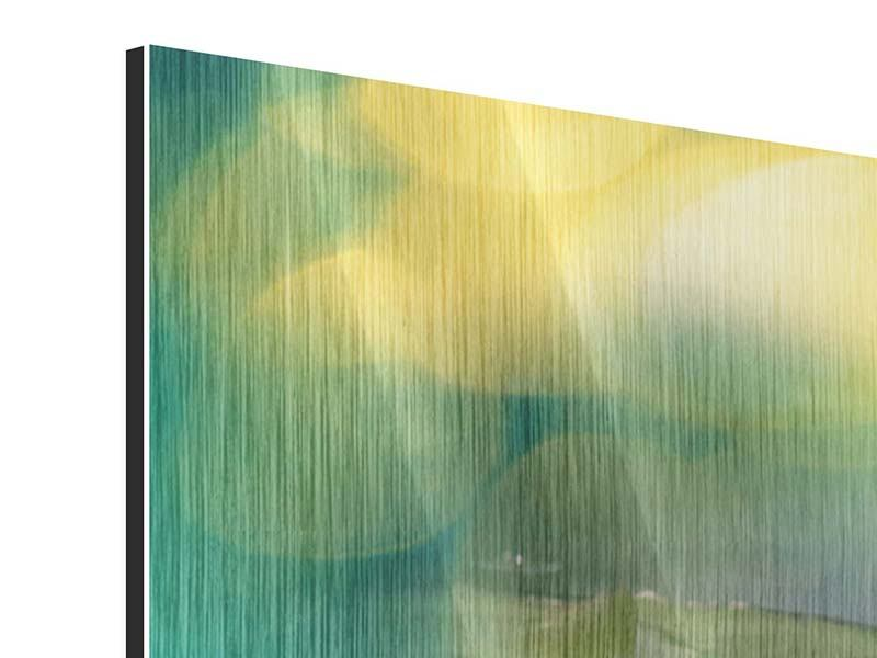 Metallic-Bild 3-teilig Lotus-Spiegelung