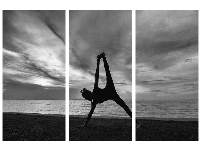Metallic-Bild 3-teilig Yoga am Strand